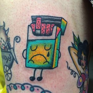 Tattoo by Robert WIlden aka Deathsure #RobertWilden #Deathsure #color #traditional #psychedelic #cigarettes #cute #funny