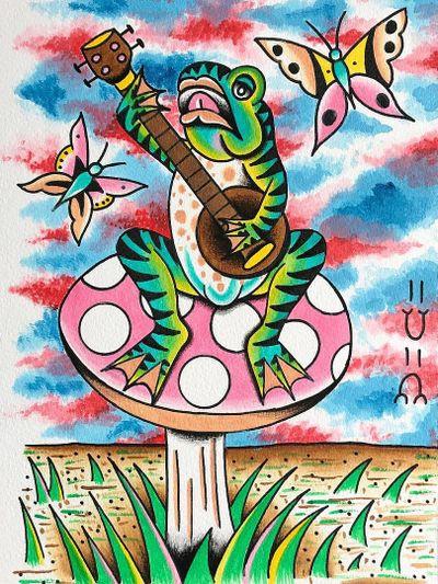 Tattoo flash by Robert WIlden aka Deathsure #RobertWilden #Deathsure #color #traditional #psychedelic #frog #tattooflash
