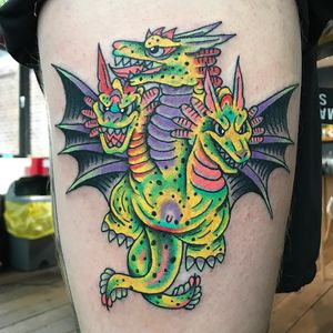 Tattoo by Robert WIlden aka Deathsure #RobertWilden #Deathsure #color #traditional #psychedelic #dragon #mythicalcreature