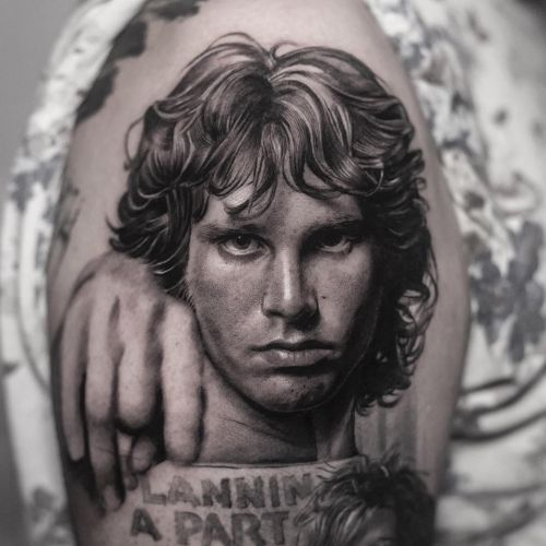 Tattoo by Inal Bersekov #InalBersekov  #rockandrolltattoos #musictattoo #rockandroll #music #70s #80s #famous #portraits #thedoors #jimmorrison #blackandgrey #realism #realistic #hyperrealism
