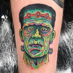 Tattoo by Robert WIlden aka Deathsure #RobertWilden #Deathsure #color #traditional #psychedelic #Frankensteinsmonster #frankenstein #horror #darkart