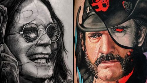 Tattoo on the left by Noa Yanni and tattoo on the right by Dave Paulo #NoaYanni #DavePaulo #rockandrolltattoos #musictattoo #rockandroll #music #70s #80s #famous #portraits