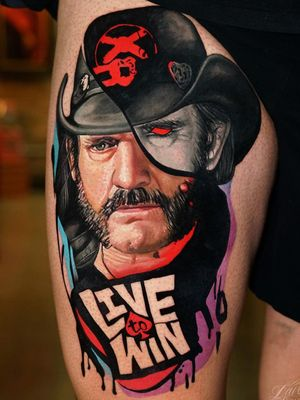 Tattoo by Dave Paulo #DavePaulo #rockandrolltattoos #musictattoo #rockandroll #music #70s #80s #famous #portraits #color #realism #realistic #Hyperrealism #text #lettering #lemmy #motorhead #abstract