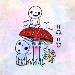 Illustration by Robert WIlden aka Deathsure #RobertWilden #Deathsure #color #traditional #psychedelic #tattooflash #kodama #princessmononoke #mushroom #flower