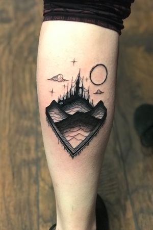 Blackwork Castle tattoo