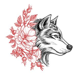 Autoral, please do not copy. #wolf #lobo #floral #blackandred #dotwork #blackwork #animal
