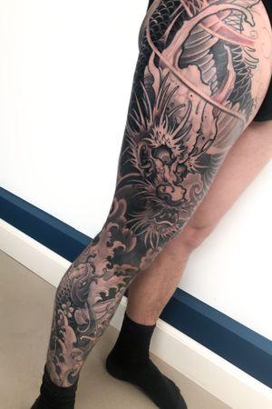 Koi and dragon #Tattoodo #inkjecta #wearesorrymom #killerinktattoo
