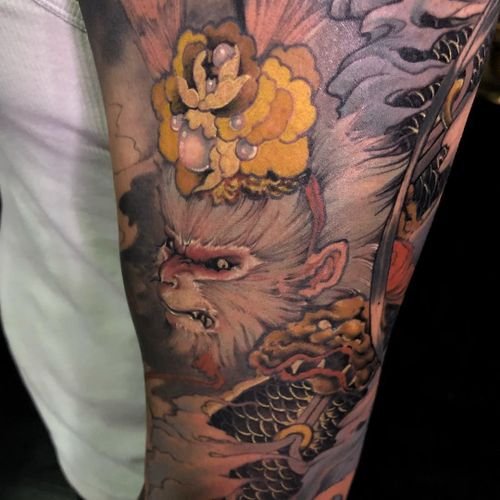 Tattoo by Xiao Peng #XiaoPeng #ChineseTattoos #ChineseNewYear #LunarNewYear #Chinese #chineseart #China #monkeyking #monkey #pearls