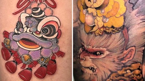 Tattoo on the left by Miss Orange and tattoo on the right by Xiao Peng #XiaoPeng #MissOrange #ChineseTattoos #ChineseNewYear #LunarNewYear #Chinese #chineseart #China
