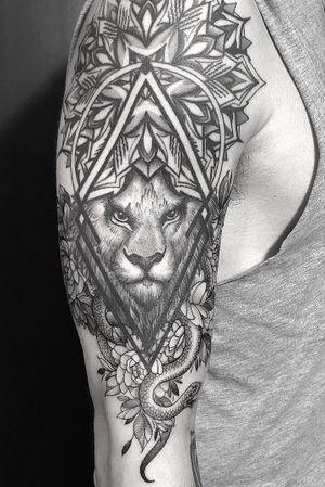 • Healed Lion and Fresh Flowers and snake • #tattoo #geometry #lion #flowers #snake #mandala