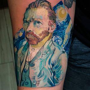 Oil and skin. #vangoghtattoo #vangogh #art  #painting #fineart #fullcolortattoo #colortattoos #tattoo #tattooartist #tatouage #felipemellotattoo