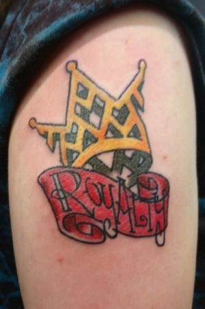 Crown & banner on arm...#color #crowntattoos #banner #render #illustrative #graphic #design #byjncustoms