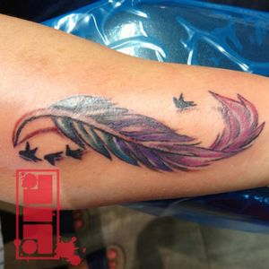 Feather & birds on forearm...#color #feathertattoo #birds #IllustrativeTattoos #graphic #design #forearmtattoo #byjncustoms