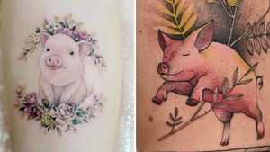 Tattoo on the left by Tattooist Banul and tattoo on the right by Dzo Lama #DzoLama #TattooistBanul #pigtattoos #pig #piggy #yearofthepig #animal #nature