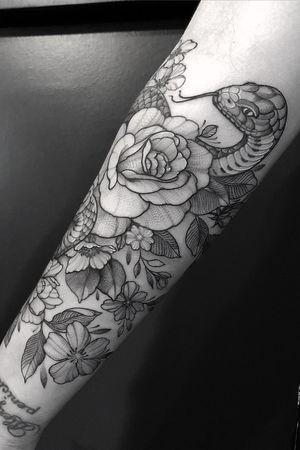 • Snake and Flowers • #snake #flowers #dotwork #linework #tattoo