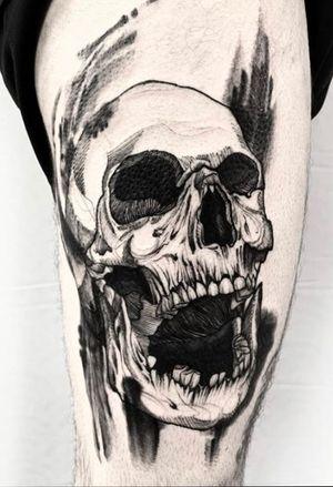 #skulltattoo #skull #blackworktattoo #blackwork