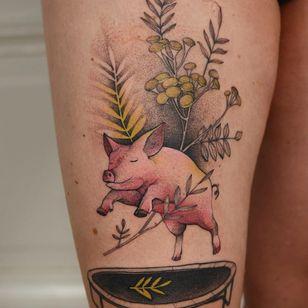 Tattoo by Dzo Lama #DzoLama #pigtattoos #pig #piggy #yearofthepig #animal #nature #color #illustrative #flowers #plants #trampoline