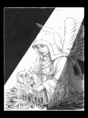 Innocence concept...#angelbaby #angel #conceptual #art #render #blackandgrey #illustrative #design #byjncustoms