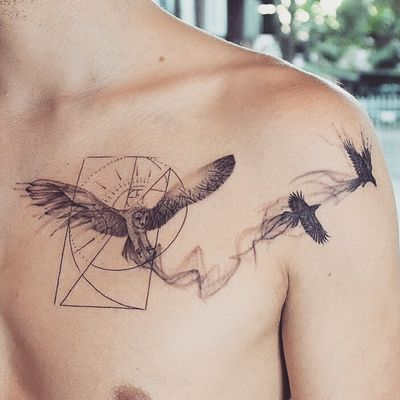 Fine line owl tattoo - Tattoo Chiang Mai #owl #raven #fibonacci #smoke #linework #dotwork #ChiangMai #thailand #tattoochiangmai #tattooartistchiangmai #tattoostudiochiangmai #fineline #geometric #btattooing #abstracttattoo #instatattoo #inked #tattooart #tattoooftheday #tatouage