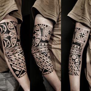 Freehand polynesian tattoo, marquesas, tahiti, maori #Marquesantattoo #freehandtattoo #tatau #tribaltattoo #maoritattoo #nomaori #tahititattoo
