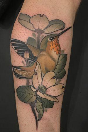 #hummingbird #neotraditional #nature #UlyssesBlair #alabama #color #Tattoodo #tattooartist