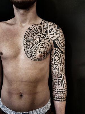 Freehand polynesian tattoo, marquesas, tahiti