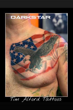 Tattoos by Tim Alford @timalfordtattoos @darkstartattoocollective #timalfordtattoos #darkstartattoos #dstc #michigantattooartist #michigantattooers #America #americanflag #eagle #fusionink #starbritecolors #gardencity