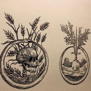 Ouroboros #medieval #dark #DarkArt #Black #blackwork #blackworktattoo #skull #skulltattoo #sword #snake #snaketattoo #linework #lines #wings #etching #woodcut