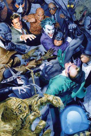 Batman fighting villains