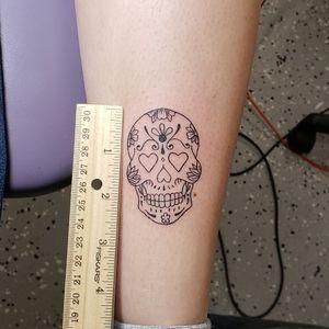 Fun little sugar skull I got to rock out last night. Please like and follow me @tattooedbyjesse FB, IG, SC, pinterest, tumblr, twitter, tattoodo app, and for my artist page; www.facebook.com/tattooedbyjesse #TattooedByJesse #ComeGetSomeInk #LoyaltyTattooCompany #DynamicBlack #Fusioninks #EternalInks #Tattoo #Tattoos #MichiganTattooArtists #MichiganPiercers #Tattooed #Symbeos #symbeostattoomachines #outline #sugarskull #sugar #skull #flowers #semicolon #small #tiny #little