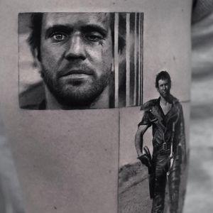 Tattoo by Inal Bersekov #InalBerskov #movietattoos #filmtattoos #movie #film #blackandgrey #realism #realistic #hyperrealism #MadMax #MelGibson #portrait