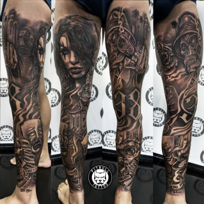 Chicano full leg sleeve tattoo... Black & Grey Realistic Style #chicanostyle #chicanolegsleeve #chicanos #realistic #legsleeve #leg #fullsleeve #fulllegtattoos #blackandgreytattoo #blackandgrey #patong #phuket #thailand