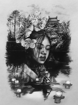 Realistic oriental themed drawing☀️ project made with photoshop mix. Drawing made with graphite on grey papaer