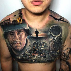 Tattoo by Steve Butcher #SteveButcher #movietattoos #filmtattoos #movie #film #SavingPrivateRyan #realism #realistic #hyperrealism #portrait #war #guns #machinegun #landscape #airplanes #TomHanks