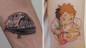 Tattoo on the left by JoJo Nium and tattoo on the right by Tattoo Pureum #TattooPureum #Pureum #JoJoNium #movietattoos #filmtattoos #movie #film