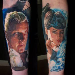 Tattoo by Amy Edwards #AmyEdwards #movietattoos #filmtattoos #movie #film #color #realism #realistic #hyperrealism #BladerRunner #portrait #Rachael #SeanYoung #RoyBatty #RutgerHauer #smoke #dove