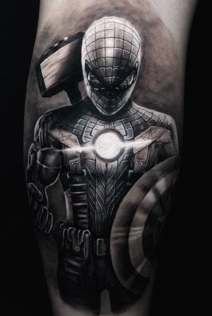 #spiderman #captainamerica #suit and #shield #hulk arm #thor #hammer #ironman and the city of #newyork reflected in the #eyes / #black #blackandgrey #realism #realistic #realistictattoo #avengers #superhero