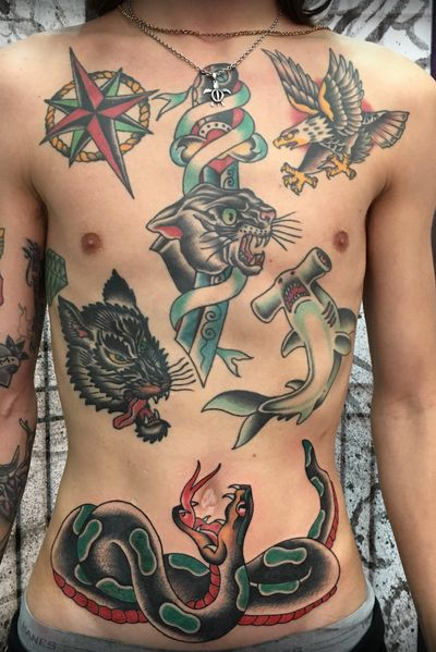 Traditional front, done over time by Carl Hallowell for young Mr P... #traditional #traditionalamerican #TraditionalArtist #eagle #snake #wolf #panther #dagger #shark #fullfronttattoo #chest #stomach #CarlHallowell