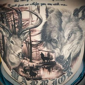 Deer and wolf nature scene stomach piece