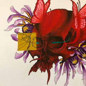 #fwwatercolor i made, #neotraditional #fw #watercolor #skull #mums #abstract