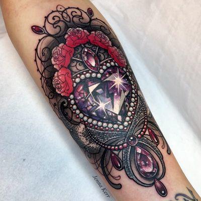 Tattoo by Jenna Kerr #JennaKerr #valentinesdaytattoos #valentinestattoos #valentinesday #valentines #love #gem #jewel #crystal #rose #filigree #ornamental #sparkle #star #jewelry
