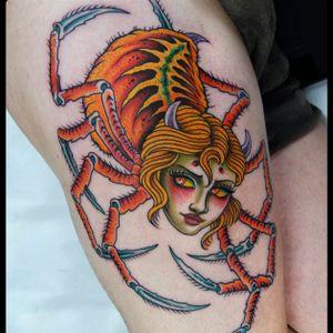 Spider woman #spidertattoo #traditionaltattoo #traditional #oldschool #colortattoo #Tattoodo #romatattoo #tattooartist #traditionaltattoo
