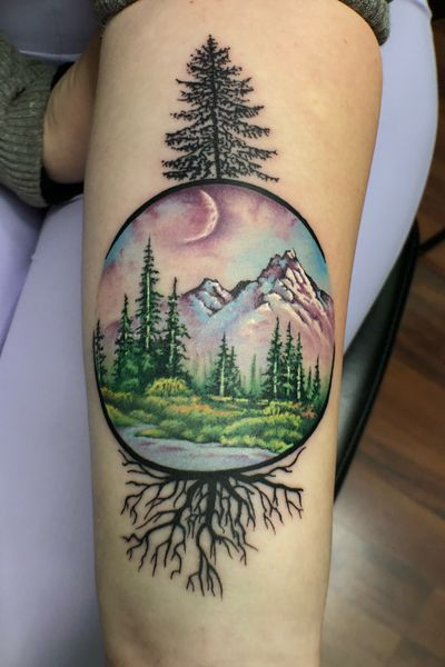 Who doesnt love some happy trees ? This tattoo was inspired by the paintings of Bob Ross himself . This was a birthday gift for a pretty awesome client , not bad for her first tattoo . #happytrees #bobross #painting #realism #color #worldfamousink #realistic #minimalist #chicago #chicagoink #mountain #forest #colorful