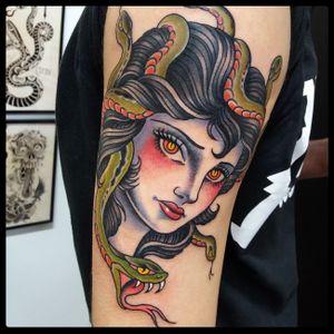 Medusa tattoo #traditionaltattoo #medusatattoo ##neotraditional #romatattoo #tattooartist #Tattoodo #snaketattoo #girltattoo #oldschool #colortattoo