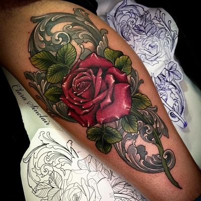 Tattoo by Clara Sinclair #ClaraSinclair #valentinesdaytattoos #valentinestattoos #valentinesday #valentines #love #rose #flower #floral #filigree #color #neotraditional