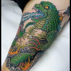 Godzilla tattoo #traditionaltattoo #neotraditional #romatattoo #tattooartist #Tattoodo #godzillatattoo #oldschool #colortattoo #monster #kaiju #Godzilla