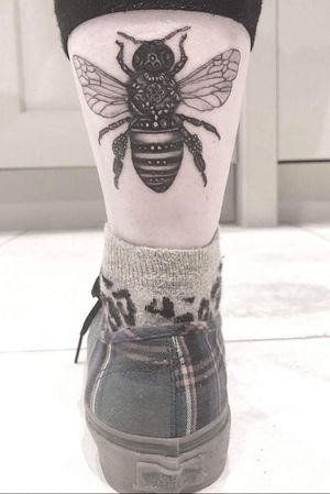 Latest addition. #Bee #beetattoo #detail