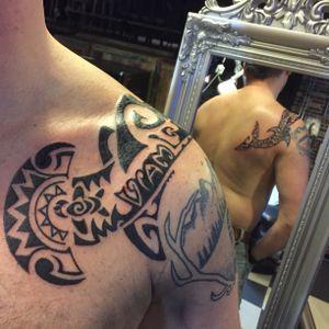 Freehand done Hammerhead #sharktattoo #polynesiantattoo #style #gja #aaltink #cultartshop #nijverdal #holland #netherlands #freehandtattoo #personaldesign