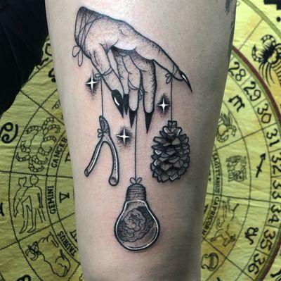 Blackwork hand tattoo, wish bone, lightbulb, pinecone. Alexus Oropeza, IG @breadcrusts, Portland, OR. #pdxtattoo #pdx #vancouver #pacificnorthwest #blackwork #stippling #zodiac