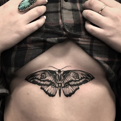 #blackandgrey #moth #losangeles #butterfly #underboob #girly #tattooinspiration #cooltattoo